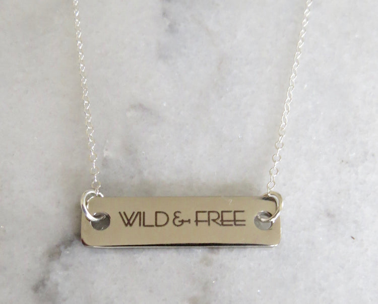 silver wild & free bar necklace