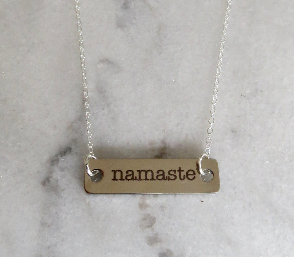 silver namaste bar necklace