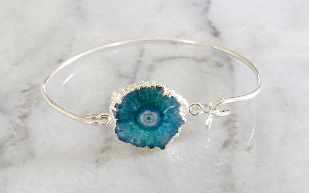 turquoise solar quartz bangle