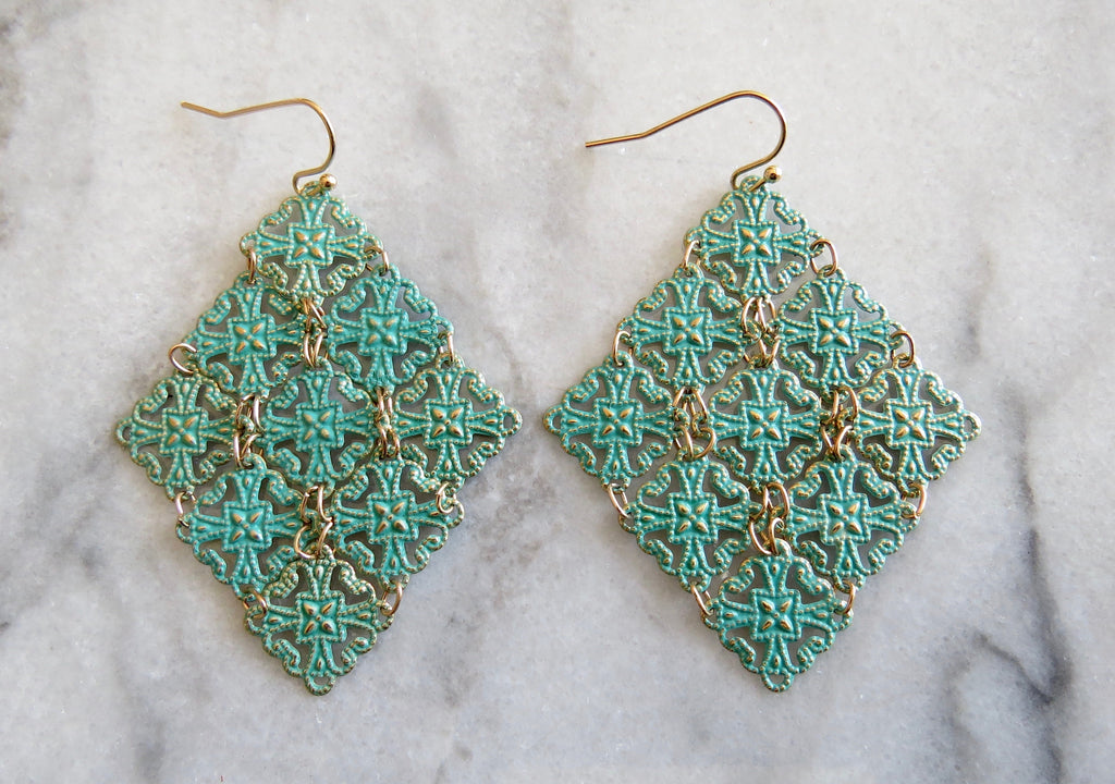 patina lace earrings