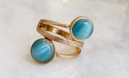 aqua gem wrap ring