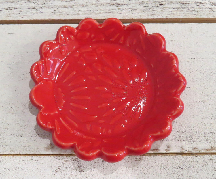 red flower dish
