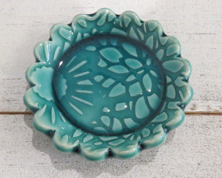 turquoise flower dish