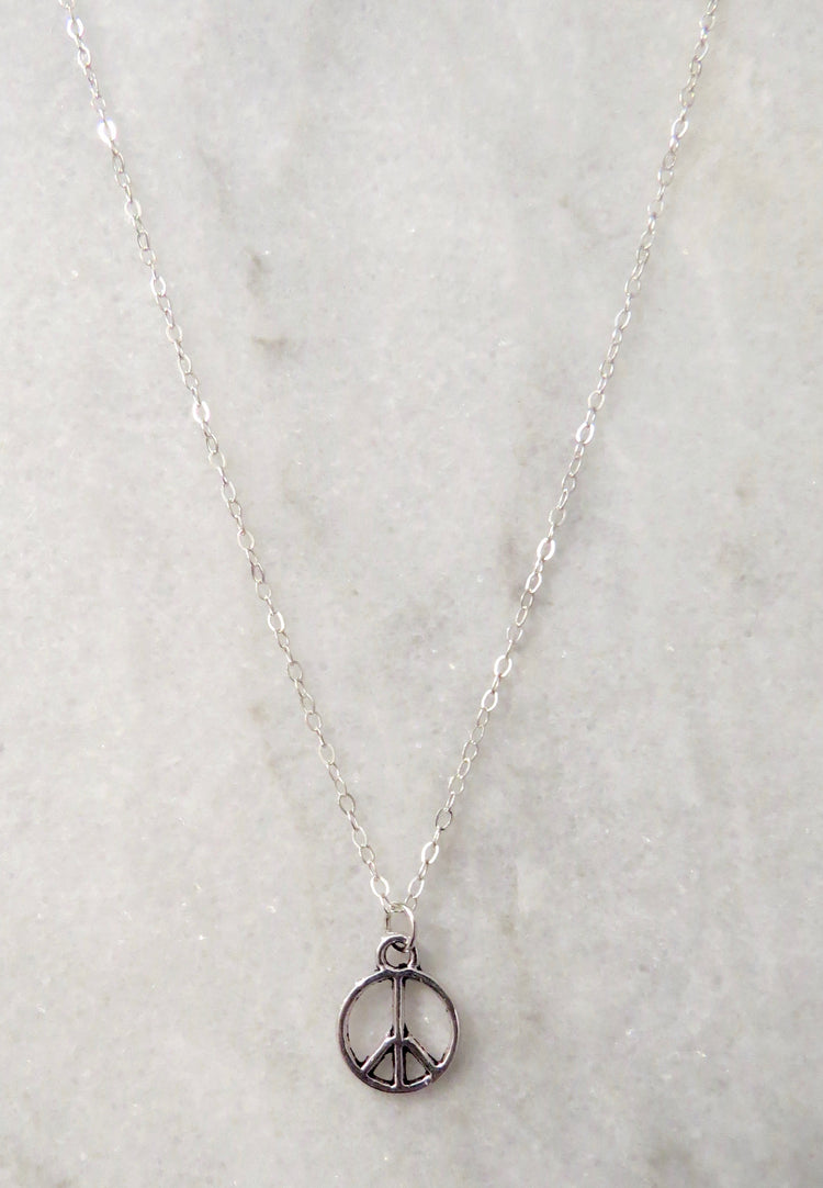 silver peace sign necklace