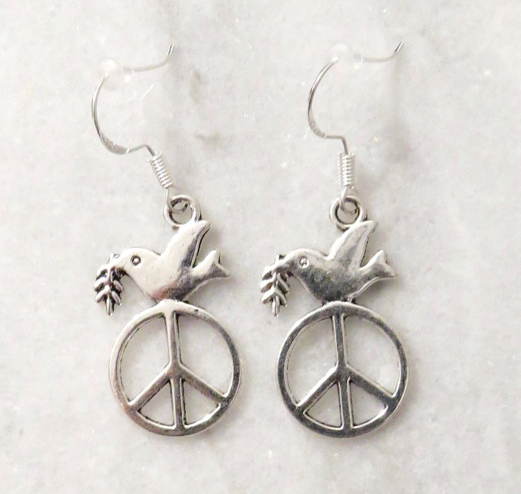 peace sign peace dove earrings