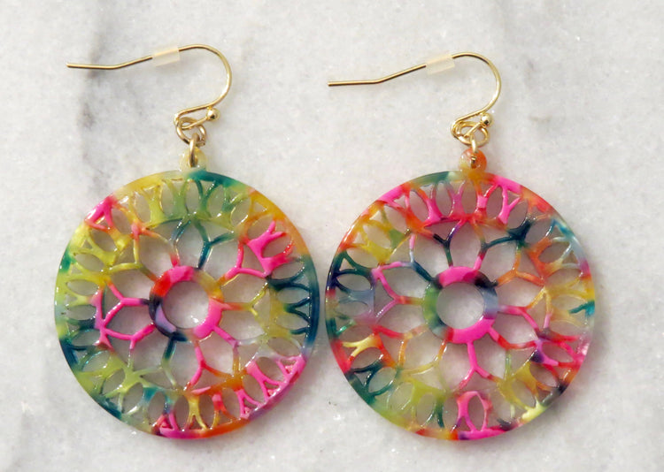 tie dye mandala earrings