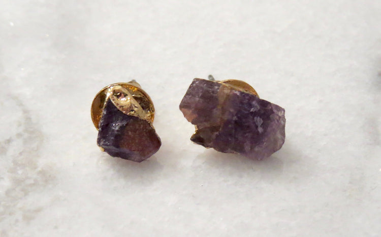 purple natural stone earrings