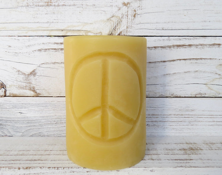 beeswax peace sign candle