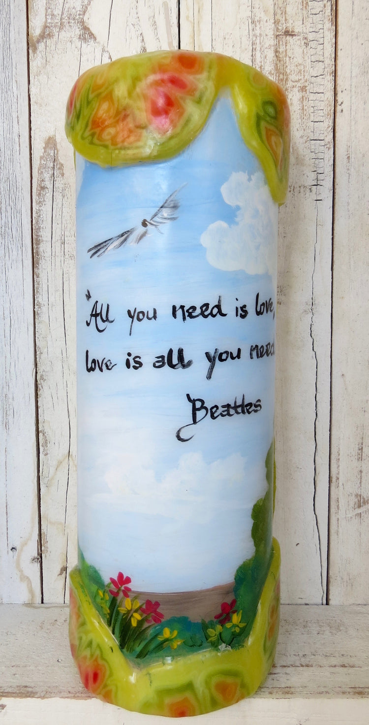 the beatles quote pillar candle