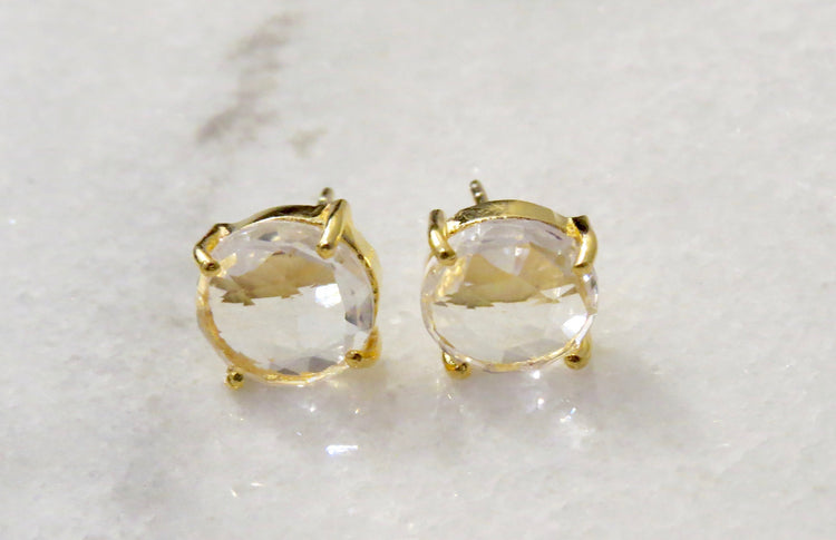 quartz post earrings