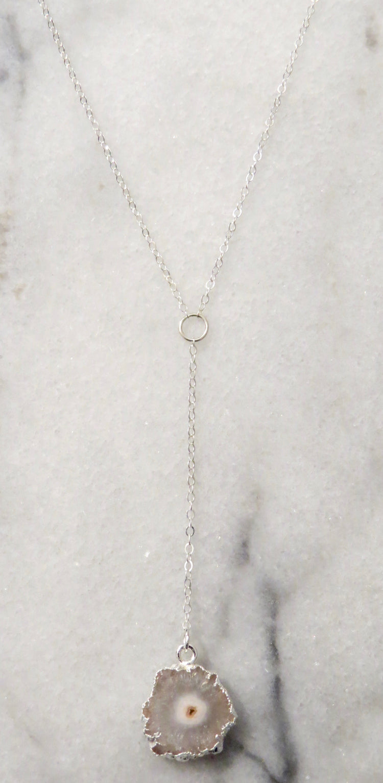 grey solar quartz Y necklace