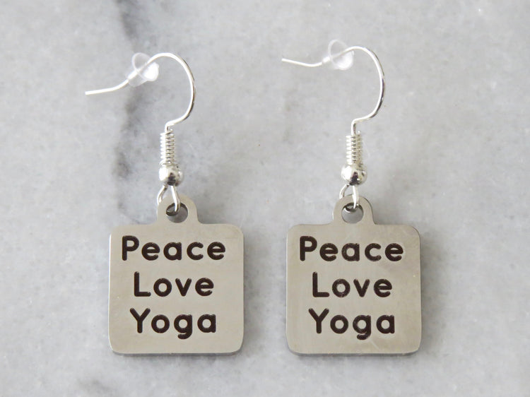 peace love yoga earrings