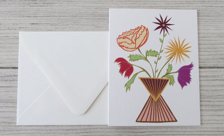 white floral card