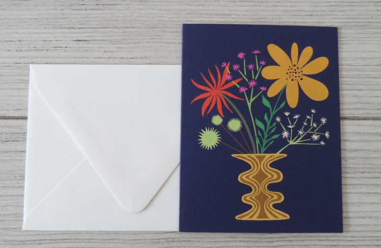 navy floral card