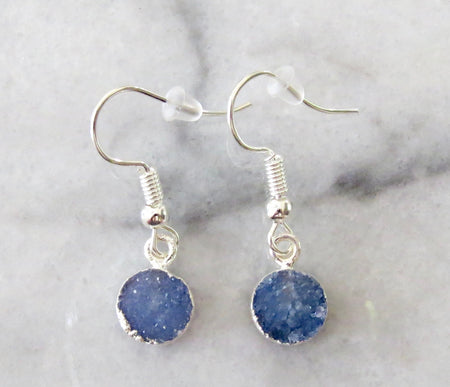 blue druzy earrings