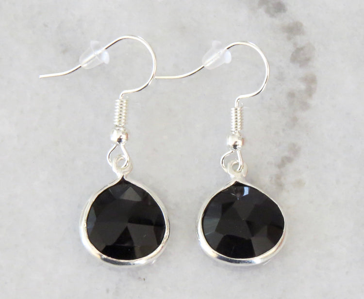 silver black onyx earrings