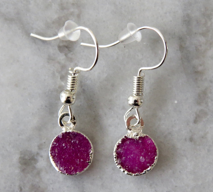 fuchsia druzy earrings