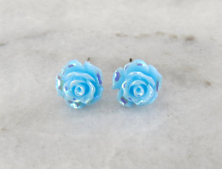 blue rose earrings