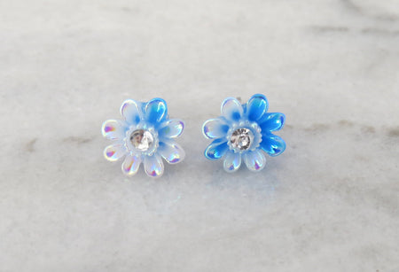 blue daisy earrings