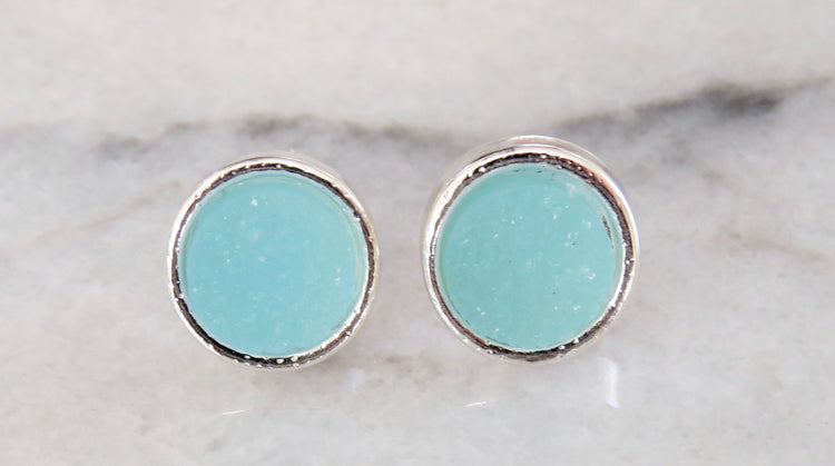 aqua druzy earrings