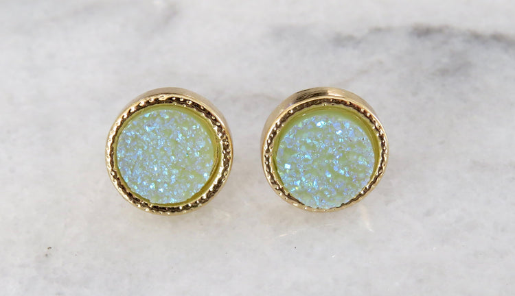 mint druzy earrings