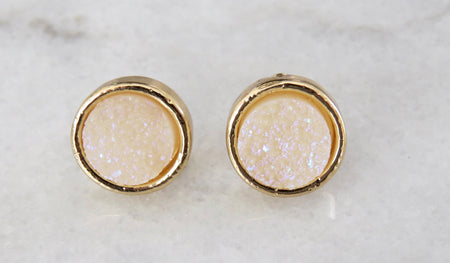 cream druzy earrings