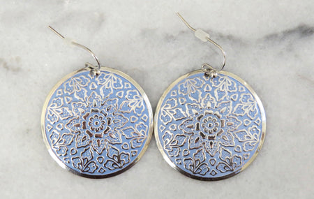 blue medallion earrings