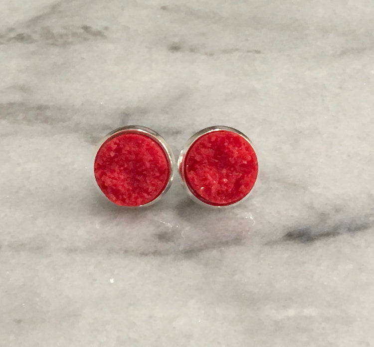 red druzy post in silver