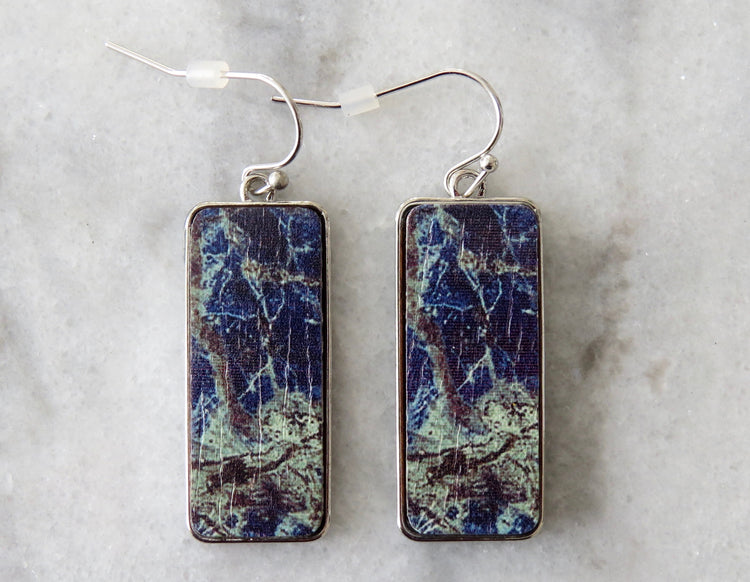 lapis wood earrings
