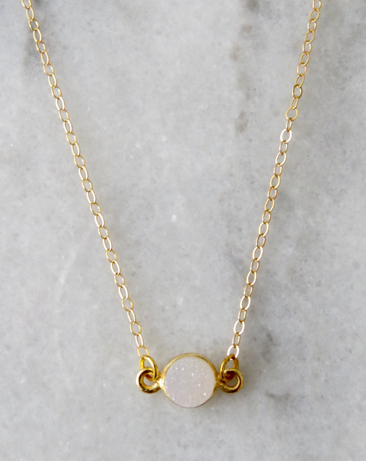 mini druzy stone necklace
