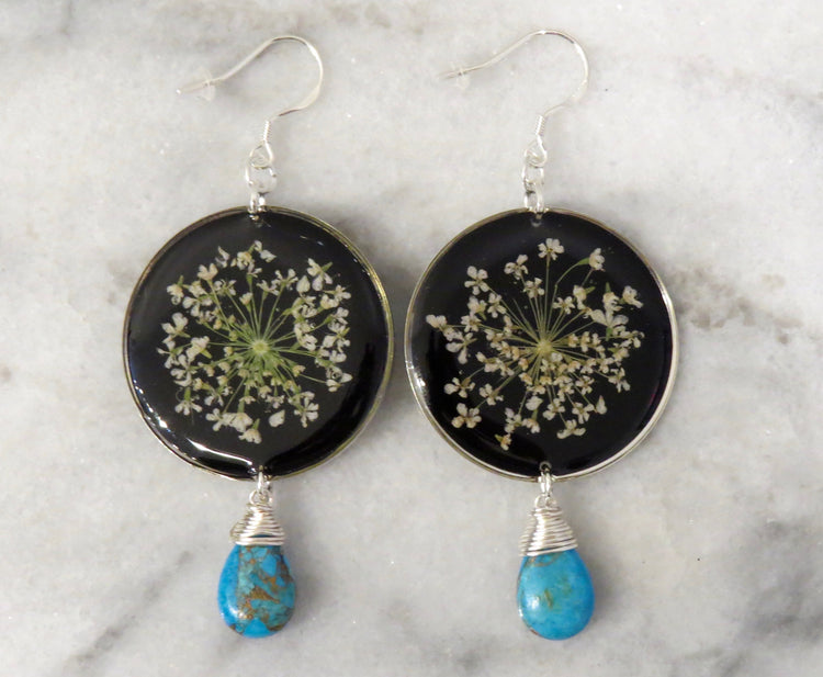 queen anne's lace turquoise earrings