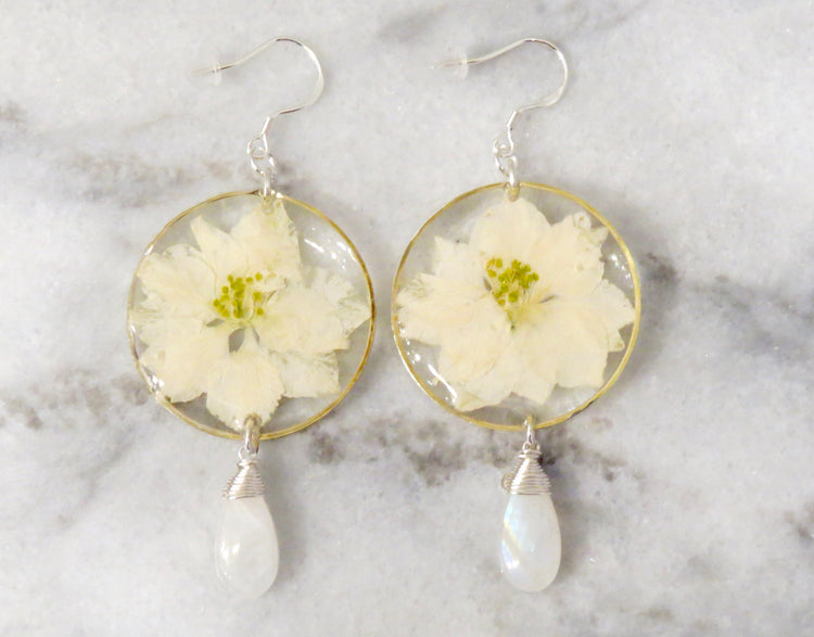 larkspur moonstone earrings