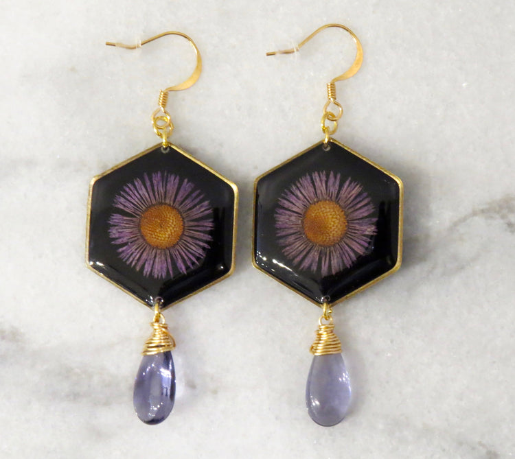 daisy amethyst earrings