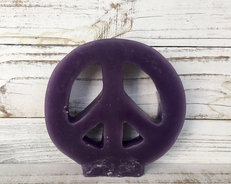 purple peace sign candle