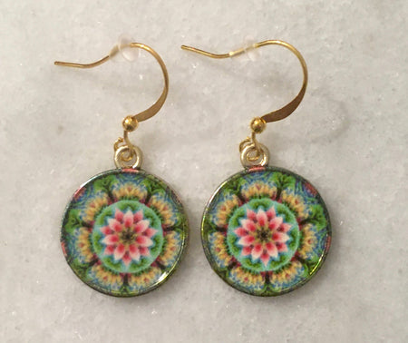 colorful mandala earrings