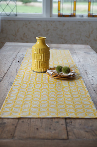 Kowhai flower lace print table runner in yellow