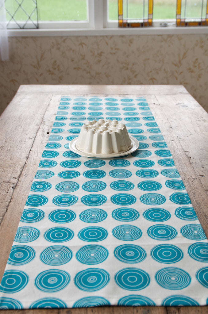 Mandala table runner - ming blue