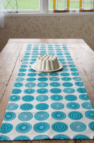 Mandala print table runner in ming blue