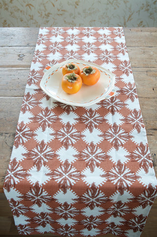 Pacifica print table runner in brown