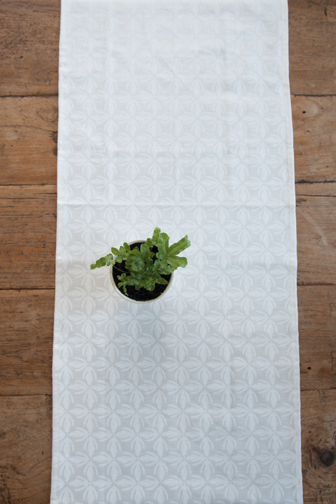 Kowhai lace print Table Runner in White