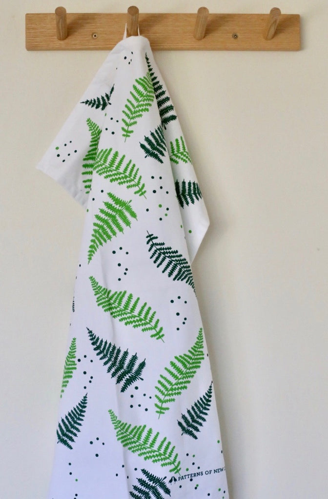 Patterns of New Zealand 'Ferns' Tea Towel