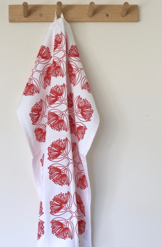 Patterns of New Zealand 'Pohutukawa' Tea Towel