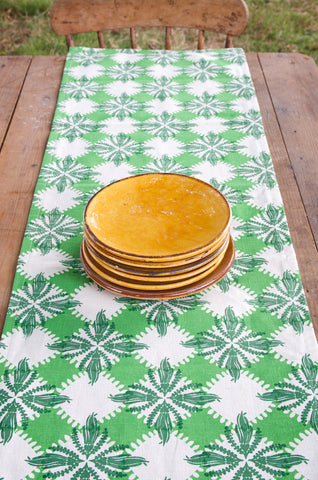 Pacifica print table runner in green