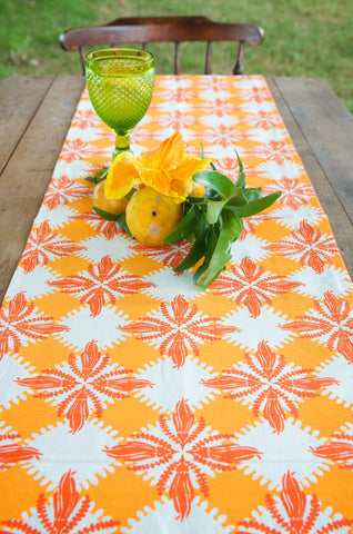 Pacifica print table runner in orange