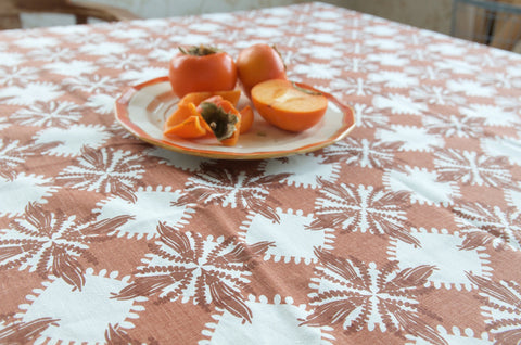 Pacifica print table cloth in brown