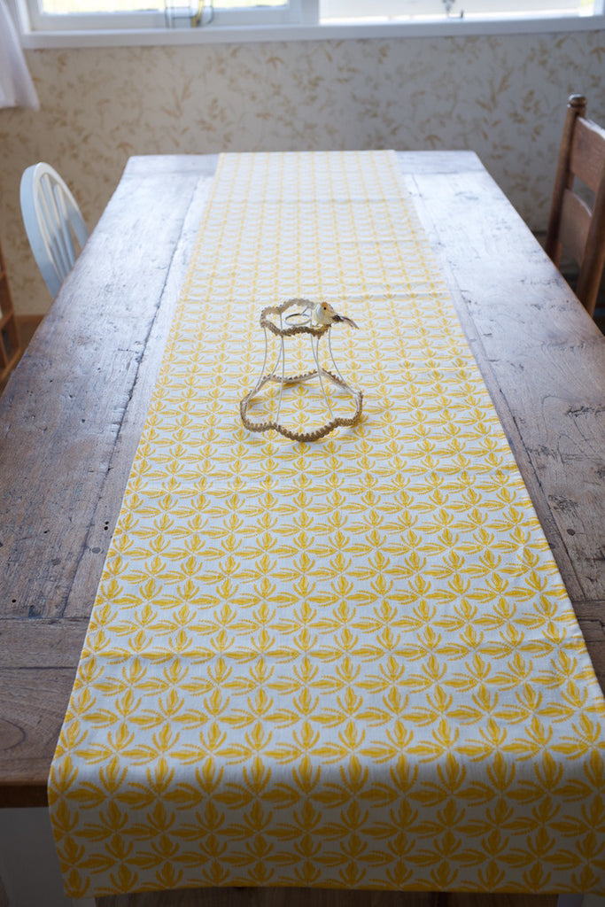 Kowhai lace table runner - yellow