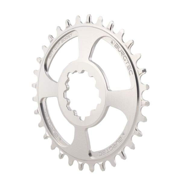 Burgtec GXP Boost Thick Thin Chainrings: Rhodium Silver