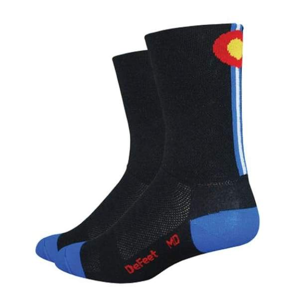 DeFeet Aireator 5 Colorado Socks - Black/Blue / 9.5-11.5 - Socks