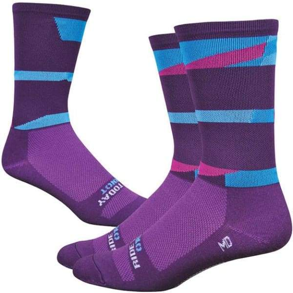 DeFeet Aireator 6 Ornot Socks: Plum/Blue - 9.5-11.5 - Socks