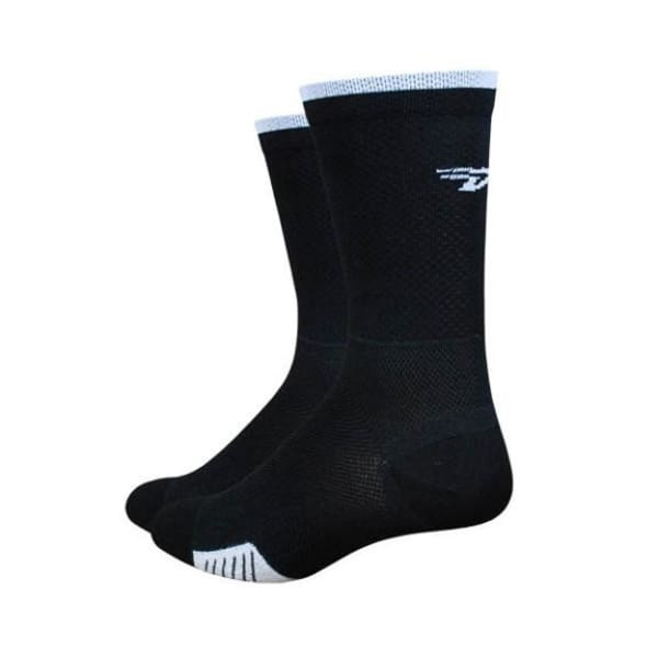 "DeFeet Cyclismo Thermocool 5"" Socks: Black/White Stripe"